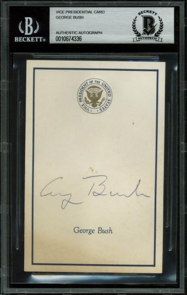 George H.W. Bush Signed 3.25x5 Vice Presidential Card BAS Slabbed