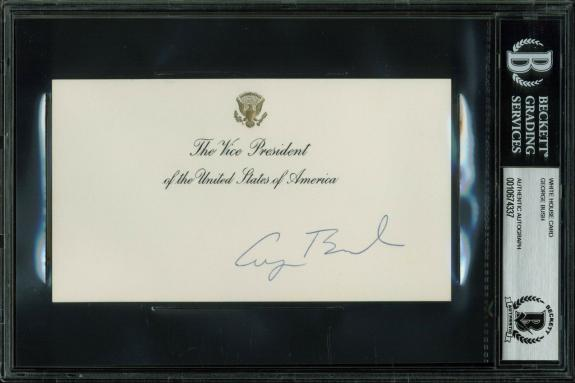 George H.W. Bush Signed 3.5x6.25 Vice President White House Card BAS Slabbed
