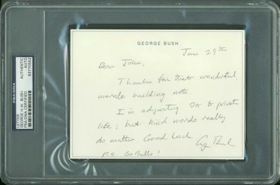 George H.W. Bush Signed 4.5X6 Hand Written Letter PSA/DNA Slabbed