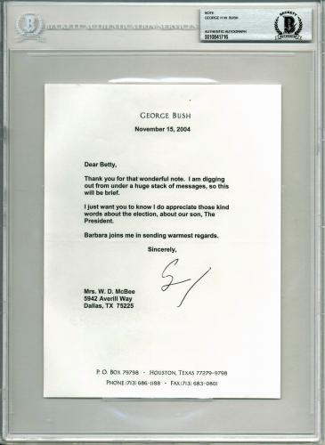 George H.W. Bush Signed 6.4x8.5 Letter Dated November 15, 2004 BAS Slabbed