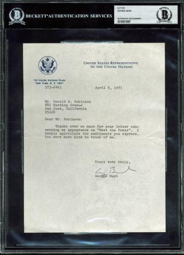 George H.W. Bush Signed 6.75x9 1971 Letter On UN Ambassador Letterhead BAS Slab