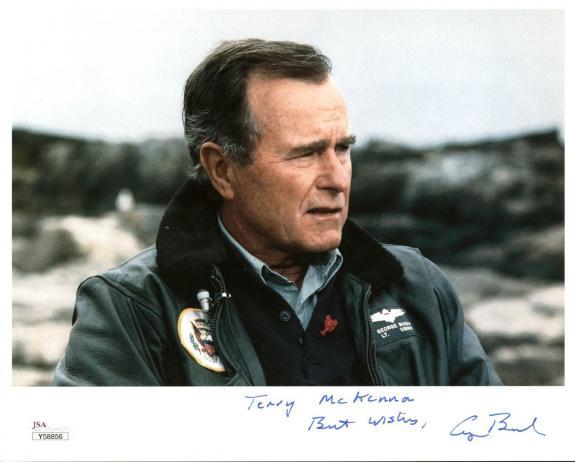 """George H.W. Bush """"Terry McKenna Best Wishes"""" Signed 8X10 Photo JSA #Y58856"""