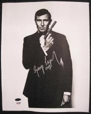 "George Lazenby Signed ""007"" James Bond 11x14 Canvas PSA/DNA COA Autograph Auto"