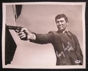 George Lazenby Signed James Bond 11x14 Canvas 007 Auto PSA/DNA COA OC Hologram