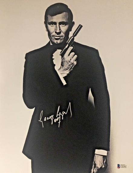 George Lazenby Signed On Her Majestys Secret Service 11X14 James Bond BAS COA
