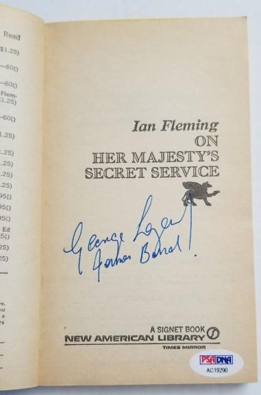 George Lazenby Signed ON HER MAJESTYS SECRET SERVICE James Bond 63' Book PSA COA