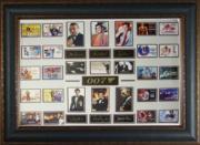 George Lazenby unsigned James Bond 26X35 Engraved Signature Series Leather Framed w/ 6 James Bond photos (movie/entertainment)
