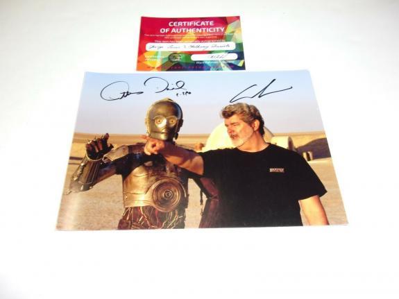 George Lucas Anthony Daniels C3po Star Wars W/coa Signed Photo