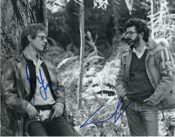 GEORGE LUCAS & HARRISON FORD SIGNED AUTOGRAPH 11x14 PHOTO - HAN SOLO, STAR WARS