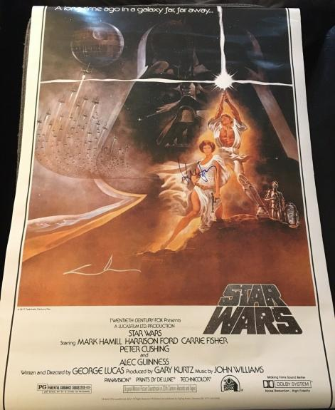 """GEORGE LUCAS & HARRISON FORD SIGNED AUTOGRAPH """"STAR WARS"""" 27x40 POSTER BECKETT"""