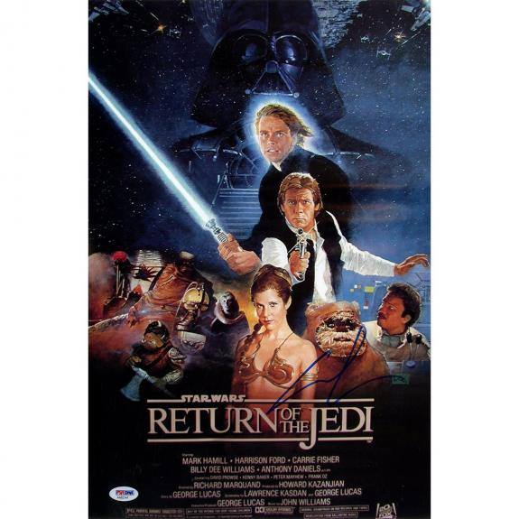 George Lucas Signed 12x18 Return of the Jedi Movie Poster PSA/DNA