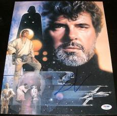 "George Lucas Signed Autograph ""star Wars"" Collage Art 11x14 Photo Psa/dna Y53819"