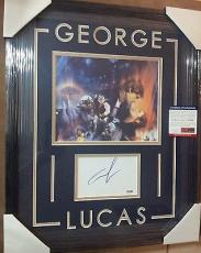 George Lucas Star Wars Psa/dna Coa Signed 8x10 Photo Double Matted Framed C