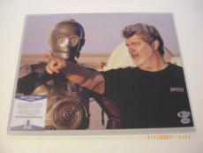 George Lucas Star Wars,empire Strikes Back,yoda Beckett/coa Signed 11x14 Photo
