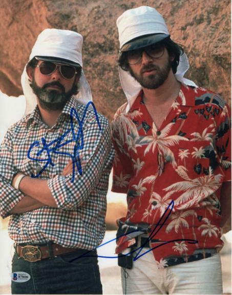 GEORGE LUCAS & STEVEN SPIELBERG DUAL SIGNED AUTOGRAPH 11x14 PHOTO - STAR WARS C