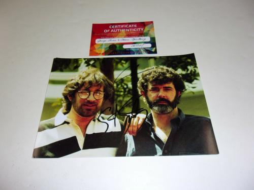 George Lucas Steven Spielberg Indiana Jones Star Wars W/coa Signed Photo