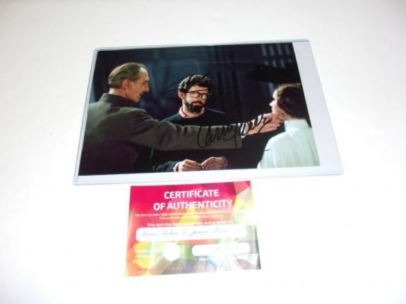 George Lucas,carrie Fisher Star Wars Director,indiana Jones W/coa Signed Photo