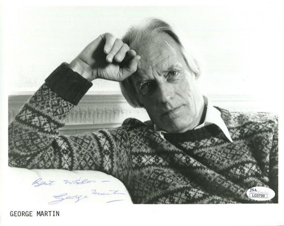 George Martin Autographed Photograph - 8x10 GREAT POSE BEATLES PRODUCER JSA