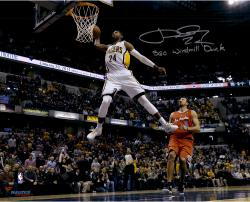 """Paul George Indiana Pacers Autographed 16"""" x 20"""" White Dunk Photograph with 360 Windmill Dunk Inscription"""