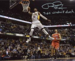 """Paul George Indiana Pacers Autographed 8"""" x 10"""" White Dunk Photograph with 360 Windmill Inscription"""