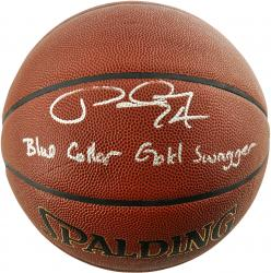 Paul George Indiana Pacers Autographed Spalding Indoor Outdoor Basketball with Blue Collar Gold Swagger Inscription - Mounted Memories