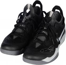 Paul George Indiana Pacers Autographed Game Used Crusader Shoes - Black/Gray - Mounted Memories