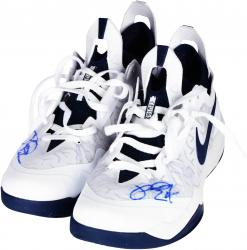 Paul George Indiana Pacers Autographed Game-Used Crusader White with Blue Shoes - Mounted Memories  - Mounted Memories