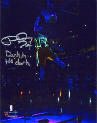 "Paul George Indiana Pacers Autographed 8"" x 10"" Glow in the Dark Photograph with Dunk in the Dark Inscription"