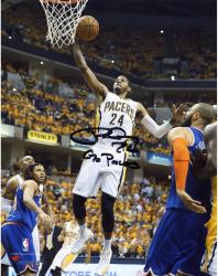 Paul George Indiana Pacers Autographed 8'' x 10'' Layup Photograph with Go Pacers Inscription - Mounted Memories