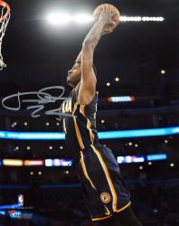 Paul George Indiana Pacers Autographed 8'' x 10'' Blue Dunk Photograph - Mounted Memories