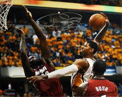 "Paul George Indiana Pacers Autographed 16"" x 20"" Horizontal Dunk Photograph"