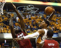 """Paul George Indiana Pacers Autographed 8"""" x 10"""" Horizontal Dunk Photograph"""