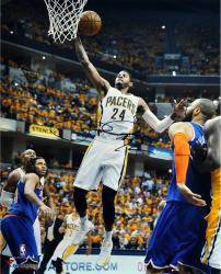 """Paul George Indiana Pacers Autographed 16"""" x 20"""" White Layup Photograph"""