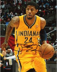 Paul George Indiana Pacers Autographed 8'' x 10'' Yellow Up-Close Photograph - Mounted Memories