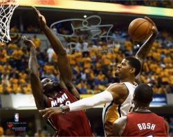 """Paul George Indiana Pacers Autographed 8"""" x 10"""" Horizontal Dunk Photograph with Posterized Inscription"""