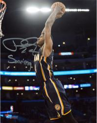 Paul George Indiana Pacers Autographed 8'' x 10'' Blue Dunk Photograph with Soaring Inscription - Mounted Memories