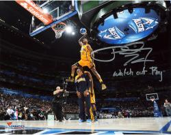 """Paul George Indiana Pacers Autographed 8"""" x 10"""" Dunk Contest Photograph with Watch Out Roy Inscription"""