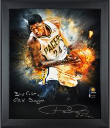 """Paul George Indiana Pacers Framed Autographed 20"""" x 24"""" In Focus Photograph with Blue Collar Gold Swagger Inscription-Limited Edition of 25"""