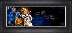 """Paul George Indiana Pacers Framed Autographed 10"""" x 30"""" Filmstrip Yell Photograph with Blue Collar Gold Swagger Inscription-1 of a Limited Edition of 24"""