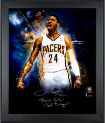 """Paul George Indiana Pacers Framed Autographed 20"""" x 24"""" In Focus Photograph with Blue Collar Gold Swagger Inscription-2-23 of a Limited Edition of 24"""