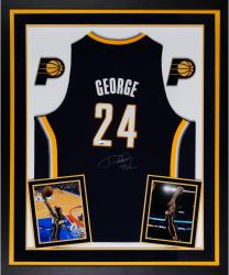 Deluxe Framed Paul George Autographed Jersey