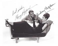 "GEORGE PEPPARD as PAUL VARJAK and AUDRY HEPBURN as HOLLY GOLIGHTLY in 1961 Film ""BREAKFAST AT TIFFANY'S"" (GEORGE Passed Away 1994 and AUDRY 1993) Signed 10x8 B/W Photo"