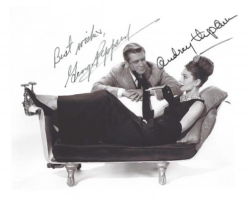 """GEORGE PEPPARD as PAUL VARJAK and AUDRY HEPBURN as HOLLY GOLIGHTLY in 1961 Film """"BREAKFAST AT TIFFANY'S"""" (GEORGE Passed Away 1994 and AUDRY 1993) Signed 10x8 B/W Photo"""