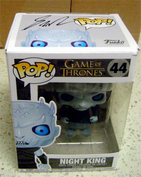 George RR Martin autographed Game of Thrones Night King Funko Pop Toy Figure on box Top