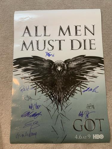GEORGE RR MARTIN CAST 10x GAME OF THRONES SIGNED AUTOGRAPH ORIGINAL 27x40 POSTER