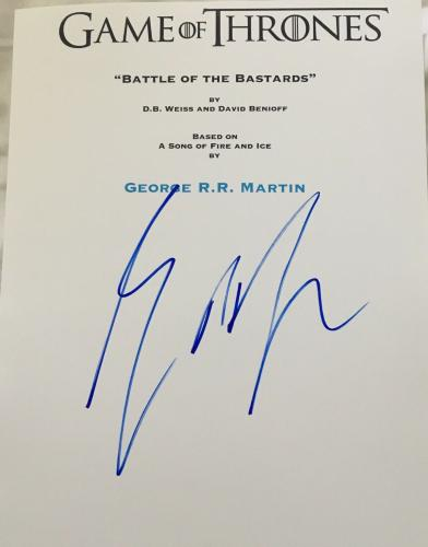 "George R.r. Martin Signed Autograph ""game Of Thrones"" Battle Bastards Script Coa"