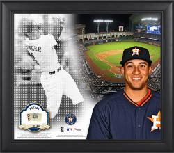 """George Springer Houston Astros Framed 15"""" x 17"""" Mosaic Collage with Game-Used Baseball-Limited Edition of 99"""