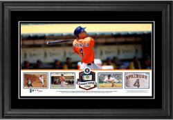 George Springer Houston Astros Framed Panoramic with Piece of Game-Used Ball - Limited Edition of 500