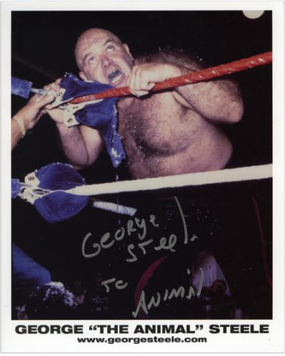 "George Steele Autographed 8"" x 10"" On the Ropes Photograph with The Animal Inscription"