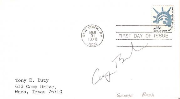 GEORGE W. BUSH (41ST PRESIDENT of the U.S.) Signed FIRST DAY ISSUE Dated 3/31/78